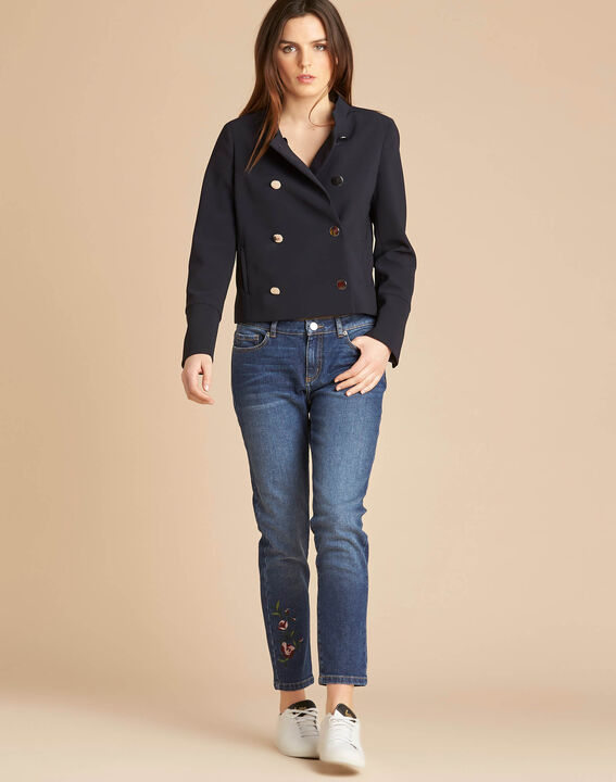 Citron navy blue collarless jacket (2) - 1-2-3
