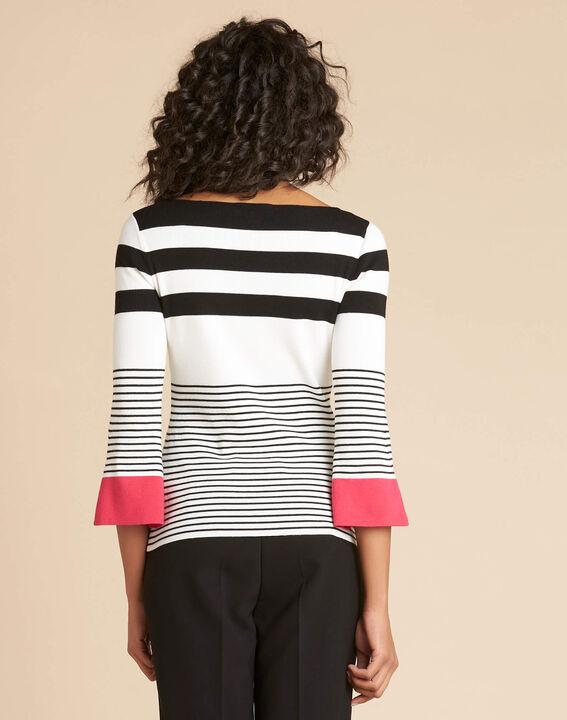 Pullover mit breiten Streifen rosa Pins (4) - 1-2-3
