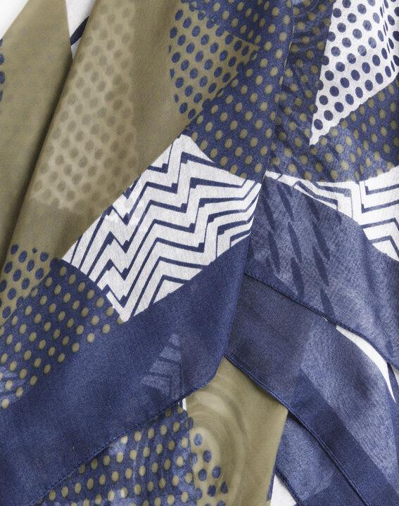 Groene sjaal van zijde en modaal met grafische print Flamme (2) - 37653
