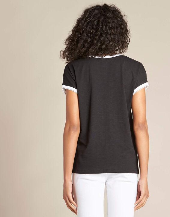 Schwarzes T-Shirt mit silbernem V-Ausschnitt Gauttier (4) - 1-2-3