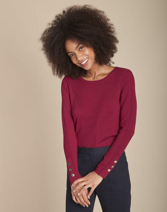 Pull bordeaux en jersey Flora PhotoZ | 1-2-3