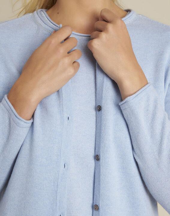 Ballerine azure blue wool cashmere cardigan (3) - Maison 123