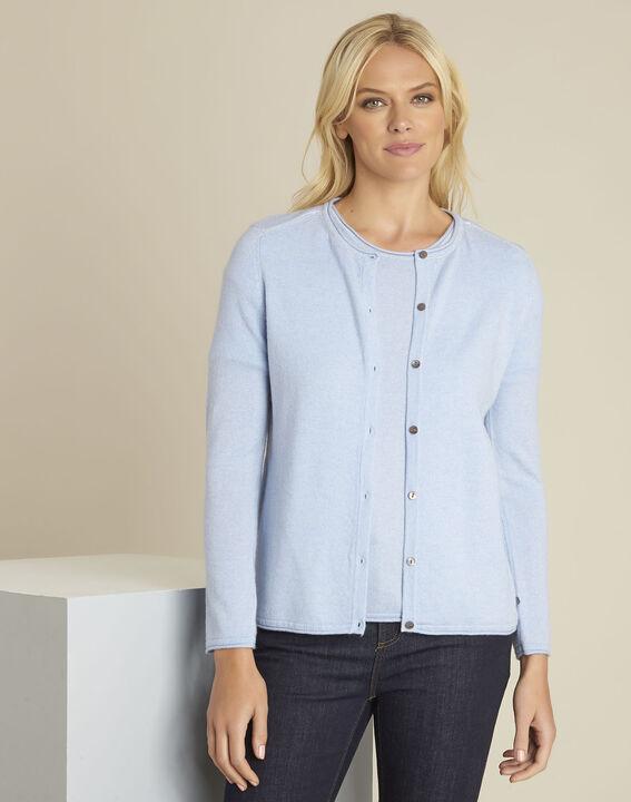 Ballerine azure blue wool cashmere cardigan PhotoZ | 1-2-3