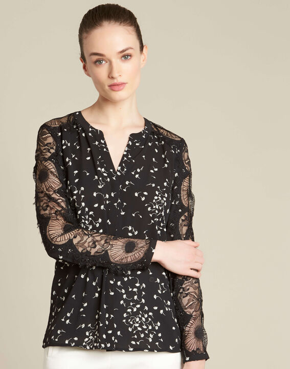 Black shirt with gingko print and guipure lace (3) - 1-2-3