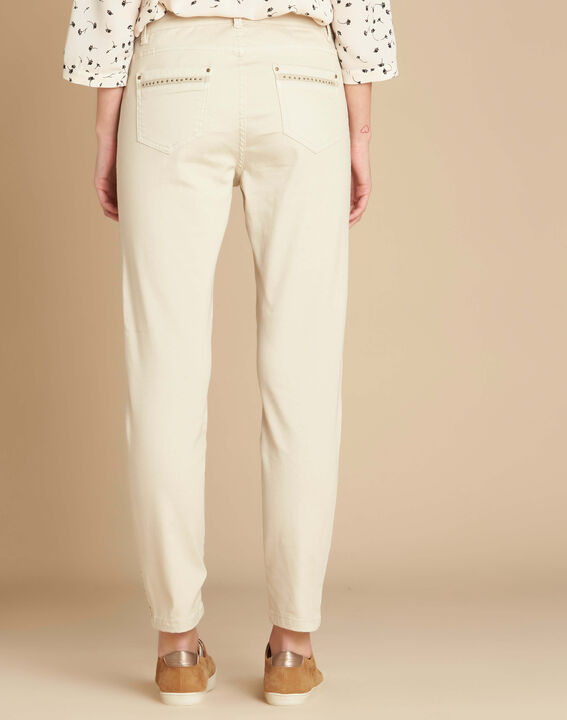 Vendôme 7/8 length jeans in beige with studded detailing (4) - 1-2-3