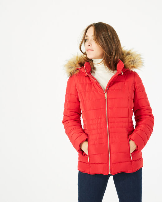 Rosie short red puffer jacket with hood (1) - 1-2-3
