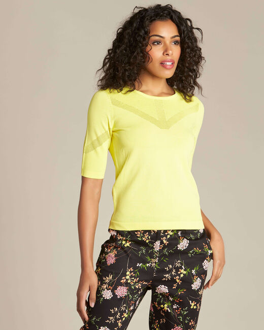 Nymphe lemon sweater with decorative neckline (2) - 1-2-3