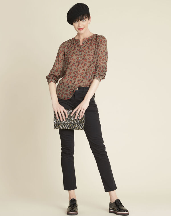 Candy animal print khaki blouse (2) - 1-2-3