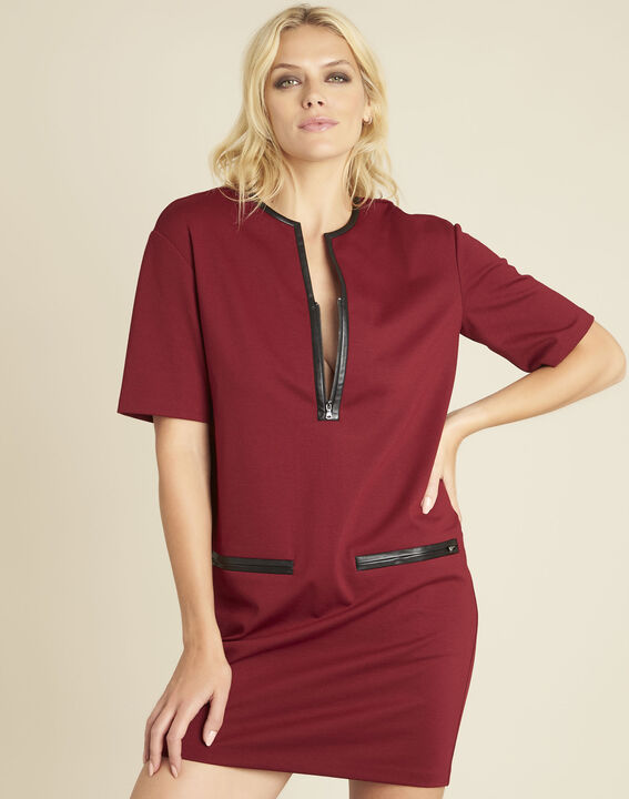 Douce red Milano dress with faux leather details PhotoZ | 1-2-3