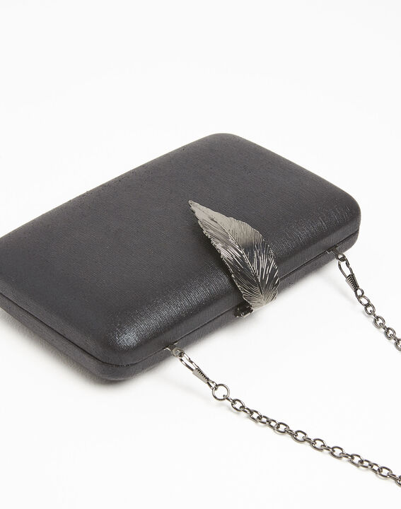 Isla black clutch bag with silver feather clasp (3) - 1-2-3