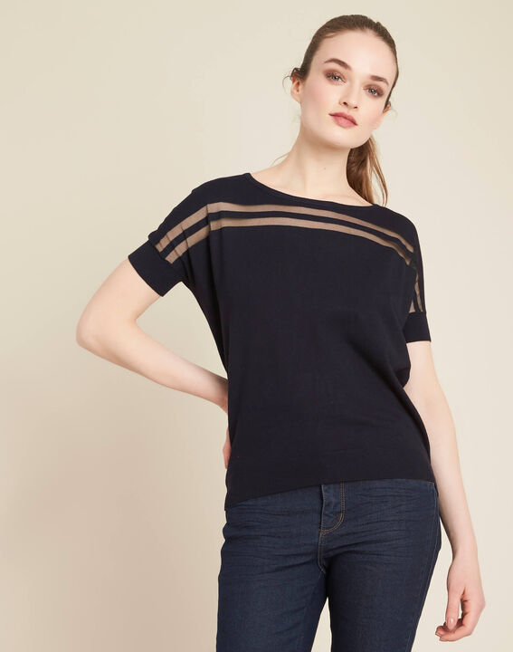 Ninja navy blue openwork sweater with round neck (3) - 1-2-3