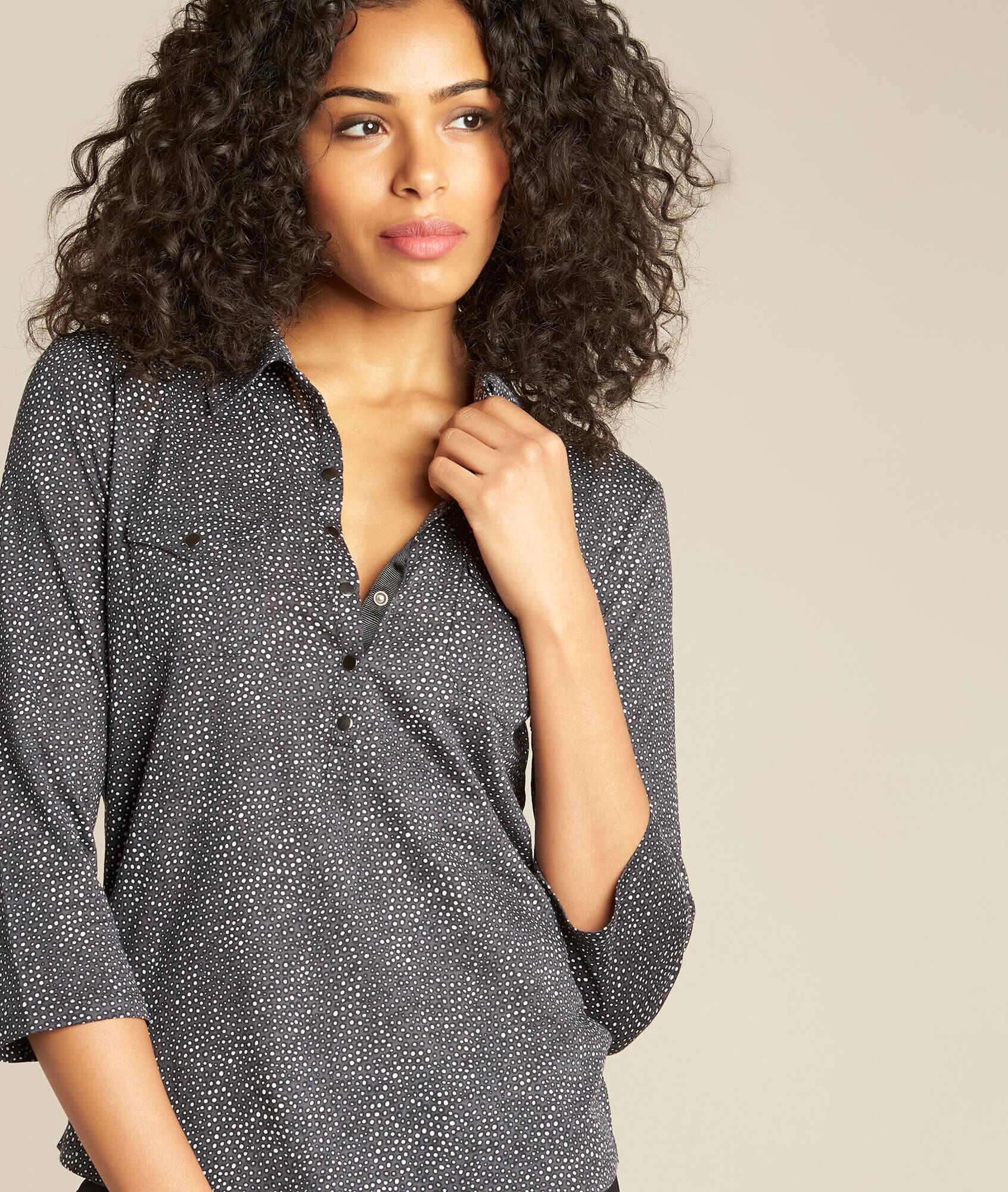 b56ea400ad60 Schwarzes Polo-Shirt mit Tupfen-Print Laura (1) - 1-2