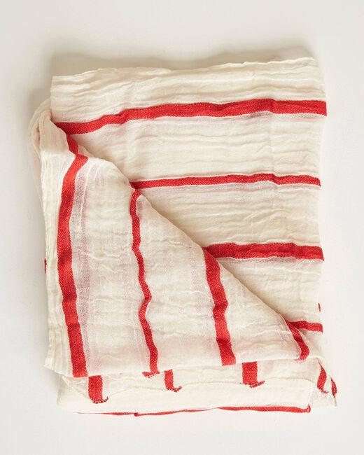Aro ecru scarf with red stripes (2) - 1-2-3