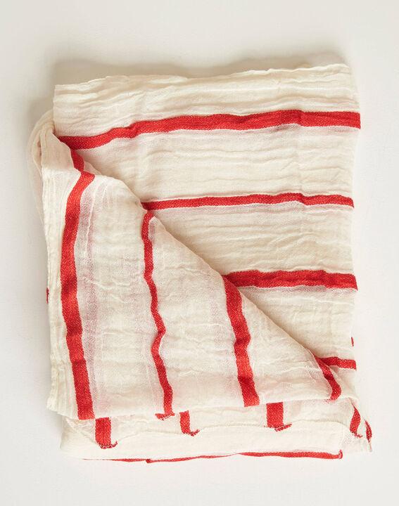 Aro ecru scarf with red stripes PhotoZ | 1-2-3
