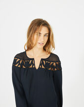 Delcia navy blue blouse with petal detailing navy.