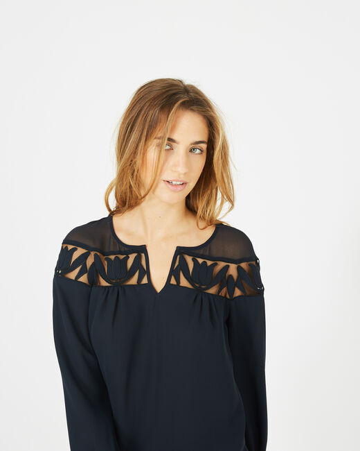 Delcia navy blue blouse with petal detailing (1) - 1-2-3