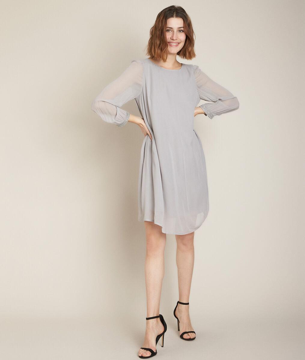 Robe détail bijou gris perle Omelie PhotoZ | 1-2-3