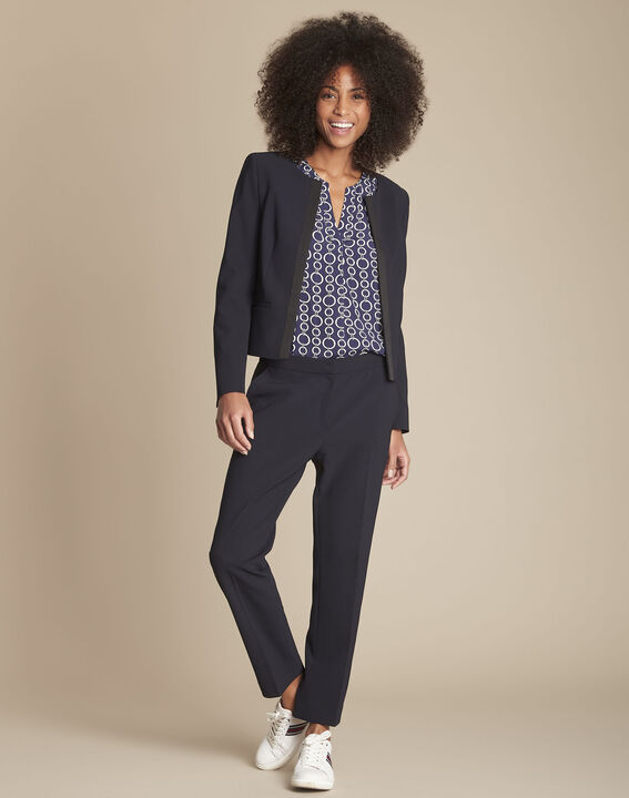 Suzanne navy tailored trousers with horizontal panel (2) - Maison 123