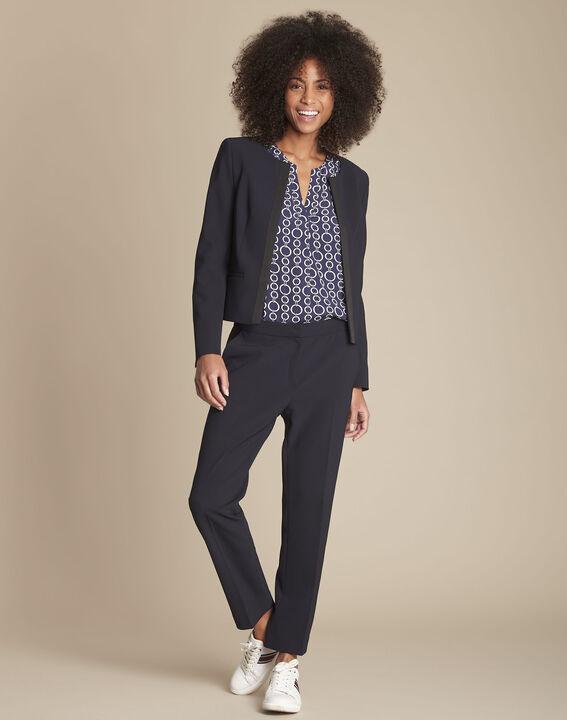 Marineblaue Damen-Anzughose mit Seitenstreifen Suzanne (2) - 1-2-3