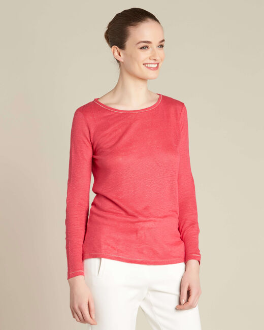 Elin fine gooseberry T-shirt in linen with golden topstitching (2) - 1-2-3