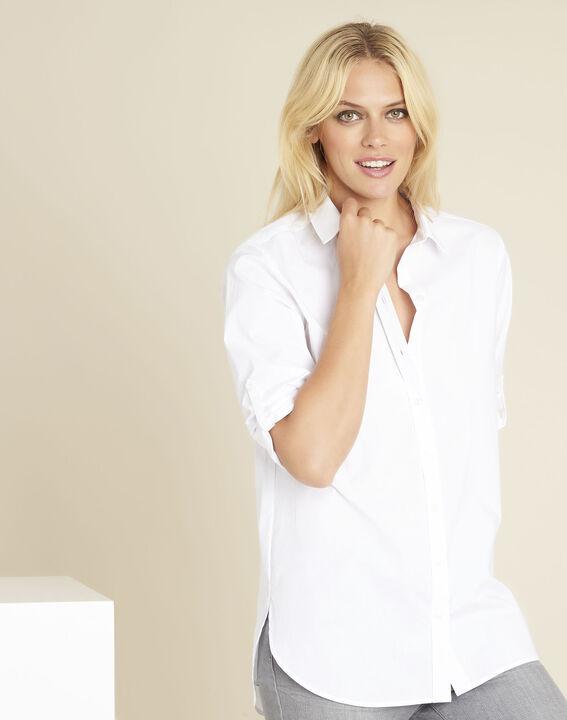Chemise blanche longue en coton colin
