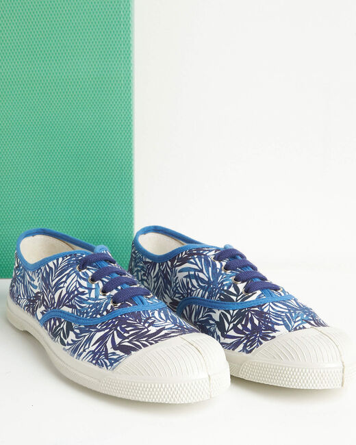 Kassandre blue cotton trainers with leaf print (1) - 1-2-3