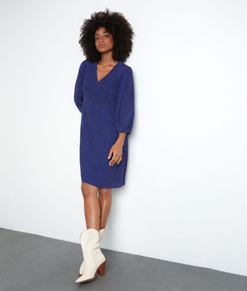 Kurzes, gesmoktes Kleid mit Printmuster elektroblau Solen PhotoZ | 1-2-3