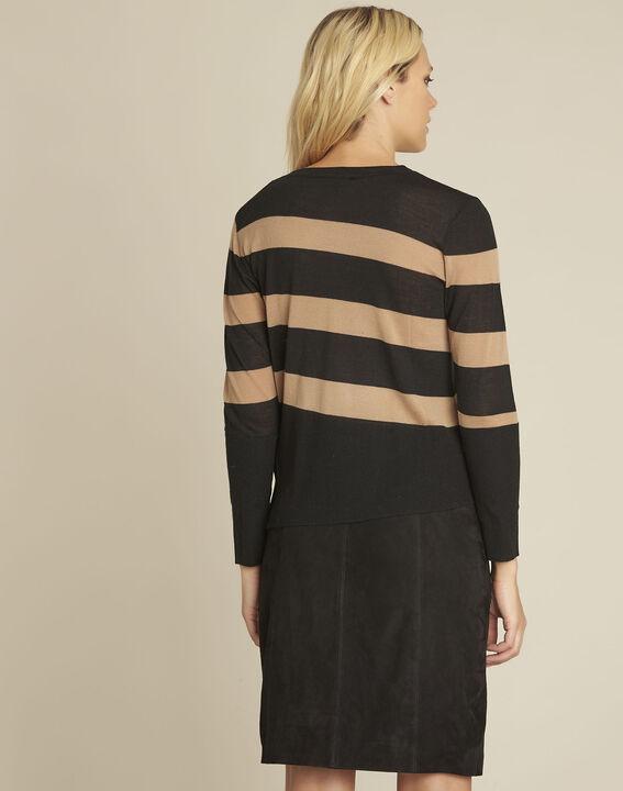 Pull noir rayé en laine mélangée Bertin (4) - Maison 123