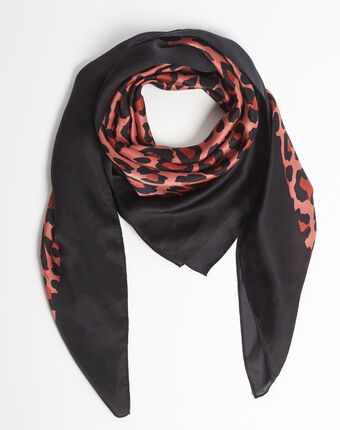 Ana leopard print pink silk square scarf crimson.