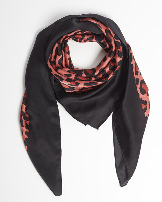 Ana leopard print pink silk square scarf (1) - 1-2-3