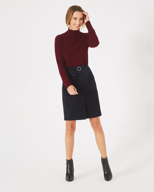 Fanny navy blue leather skirt (2) - 1-2-3