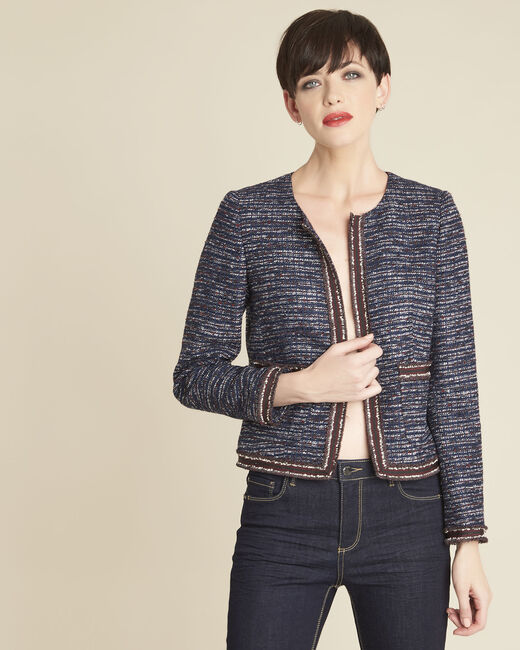 Charme cobalt blue jacket in a decorative knit (2) - 1-2-3