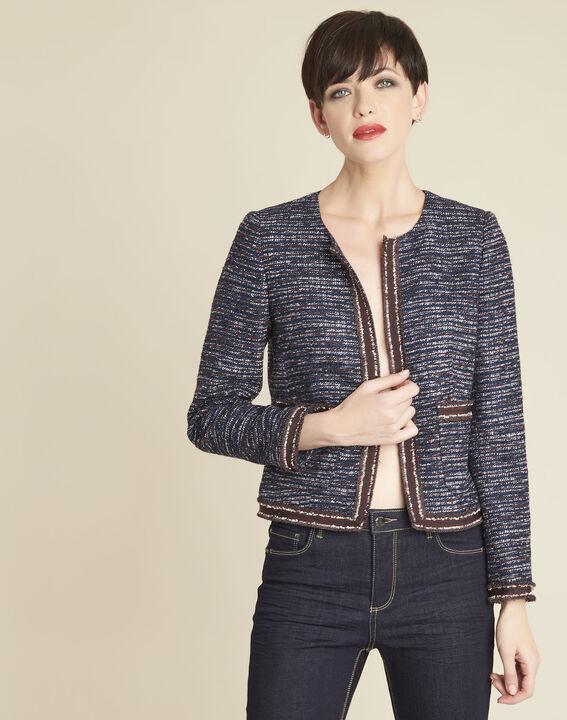 Charme cobalt blue jacket in a decorative knit PhotoZ | 1-2-3