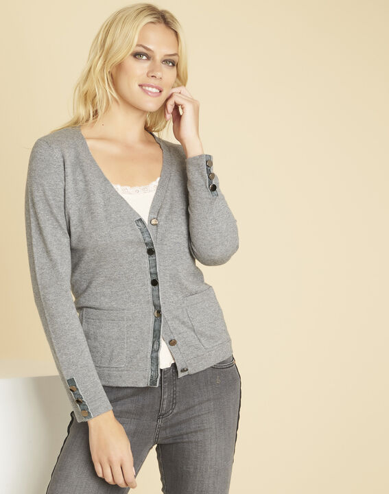 Gilet gris détail gros grain velours bettina