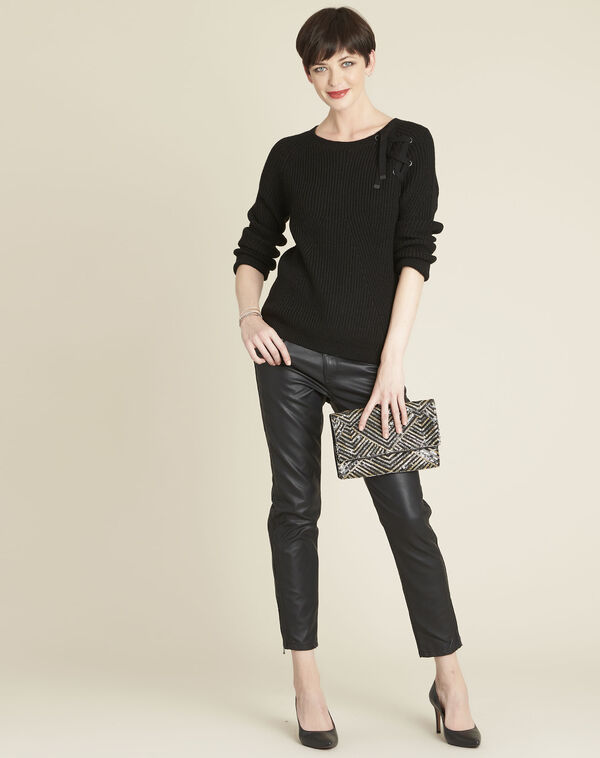 Zwarte trui met veters van gemengd wol Bountie (2) - 37653