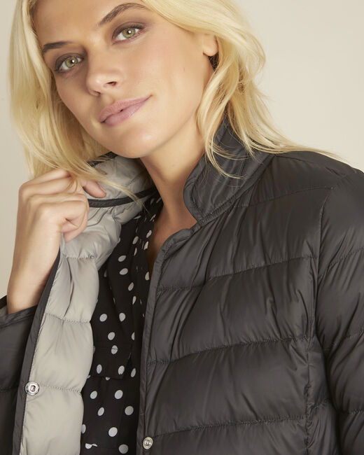 Penny short black down jacket with grey lining (2) - 1-2-3