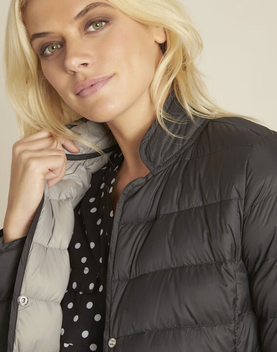 Penny short black down jacket with grey lining (3) - 1-2-3