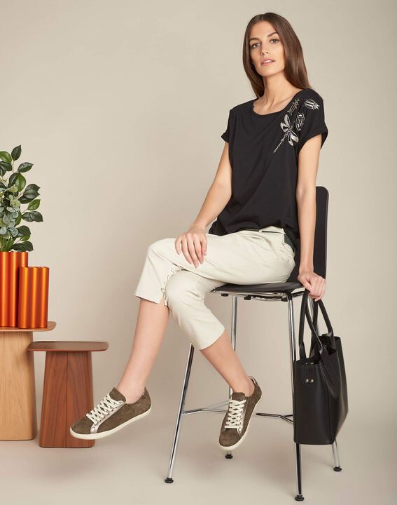 Jamy ecru cotton cropped trousers with lacing (2) - 1-2-3