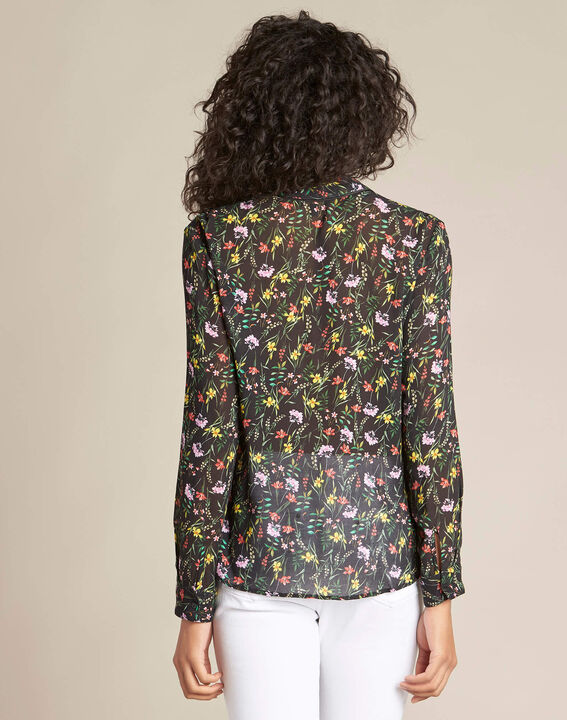 Davis black shirt with floral print (4) - 1-2-3