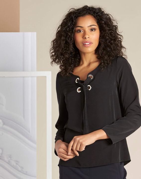 Zwarte blouse met veters Domino (3) - 37653
