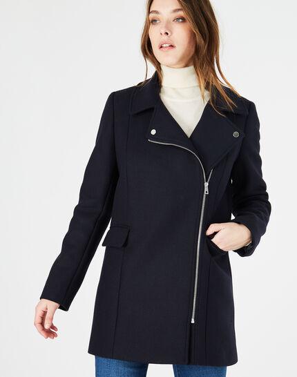Manteau bleu marine en laine mélangée Oryanne (3) - 1-2-3