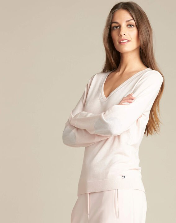 Newyork pale pink sweater in wool and silk with shiny neckline (3) - 1-2-3