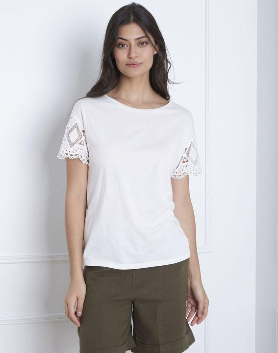 Naturfarbenes Spitzen-T-Shirt mit Ärmeln Podgorica (2) - Maison 123