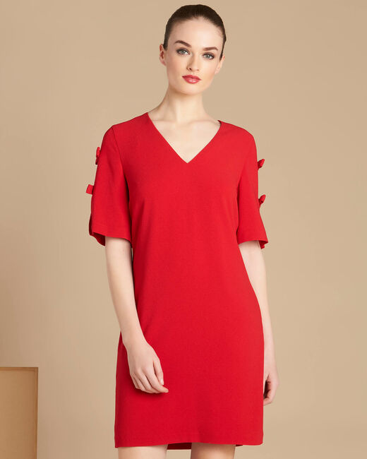 Ivoire red crepe dress with bows (2) - 1-2-3