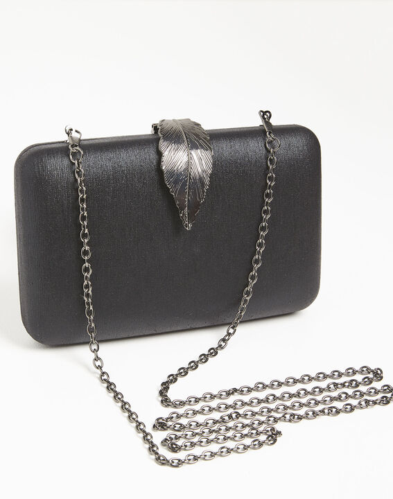 Isla black clutch bag with silver feather clasp PhotoZ | 1-2-3