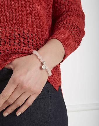 Bracelet perles quartz amour rose pale.