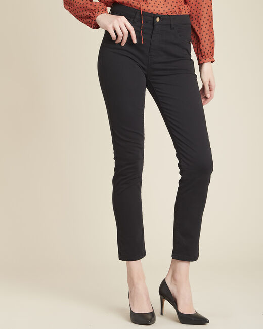 Vendôme 7/8 length slim-cut black cotton satin jeans (1) - 1-2-3