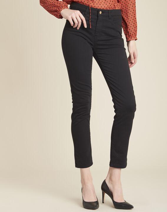 Vendôme 7/8 length slim-cut black cotton satin jeans PhotoZ | 1-2-3