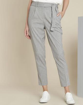 Pantalon gris rayé ceinture hemy chine clair.