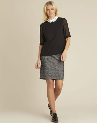 Anais jacquard skirt with faux leather panel black/white.